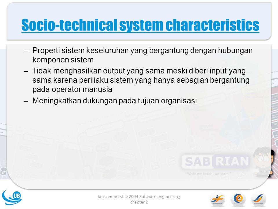 Proses organisasi Proses dari rekaya sistem yang tumpang tindih dan memberi pengaruh pada proses pengadaan organisasi Proses operasi adalah proses yang melibatkan penggunaan sistem untuk tujuan tertentu.