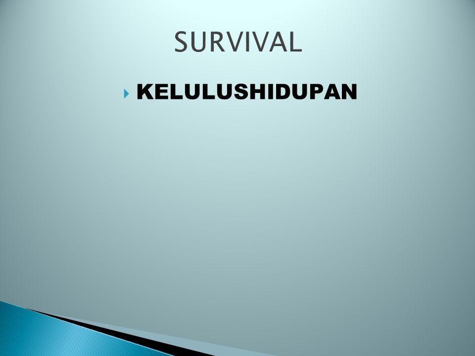 SURVIVAL (KELULUSHIDUPAN/SINTASAN) SURVIVAL (SUATU PERIODE) --> JUMLAH IKAN YANG HIDUP PADA AKHIR PERIODE RELATIF DENGAN JUMLAH YANG HIDUP PADA AWAL PERIODE S = Nt / N0 JIKA DIHUBUNGKAN DG MORTALITAS POPULASI ----------> PEMBERIAN TANDA
