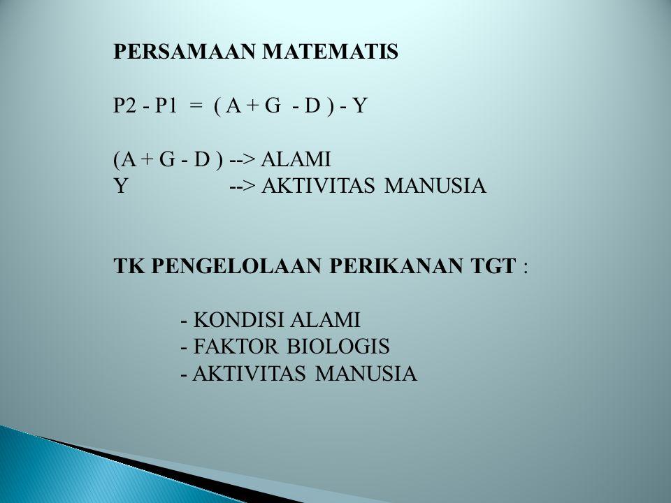 PERSAMAAN MATEMATIS P2 - P1 = ( A + G - D ) - Y (A + G - D ) --> ALAMI Y --> AKTIVITAS MANUSIA TK PENGELOLAAN PERIKANAN TGT : - KONDISI ALAMI - FAKTOR