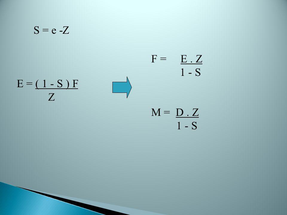 S = e -Z E = ( 1 - S ) F Z F = E. Z 1 - S M = D. Z 1 - S