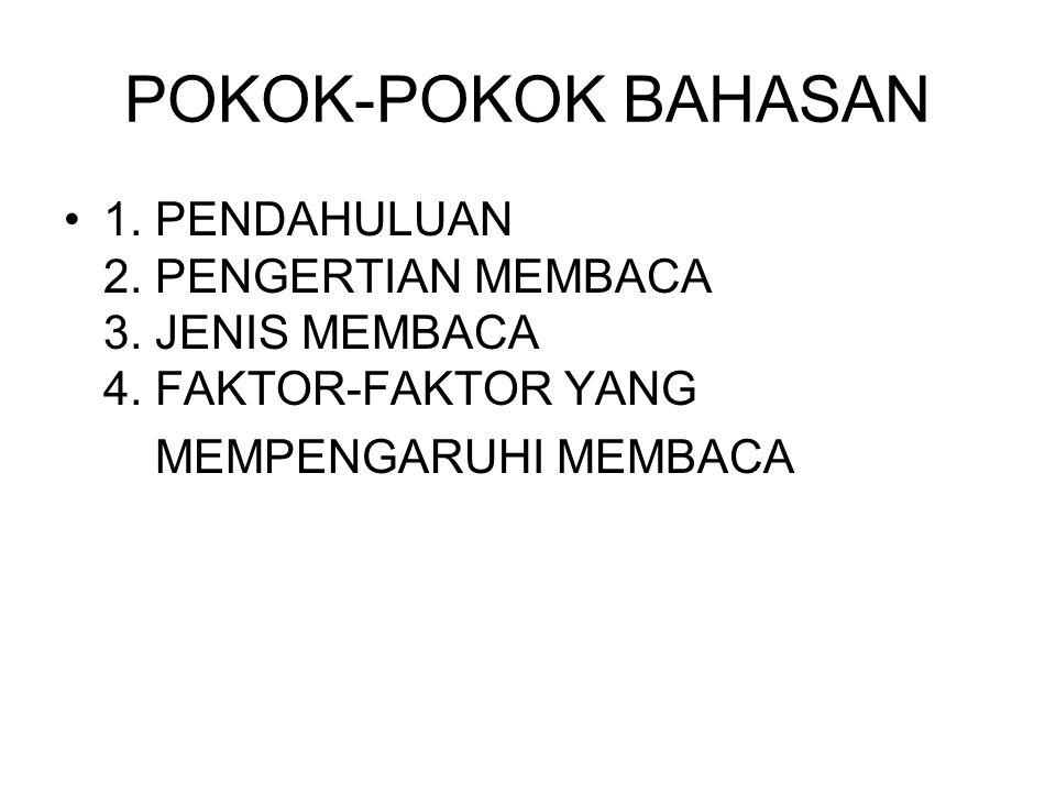 POKOK-POKOK BAHASAN 1. PENDAHULUAN 2. PENGERTIAN MEMBACA 3. JENIS MEMBACA 4. FAKTOR-FAKTOR YANG MEMPENGARUHI MEMBACA