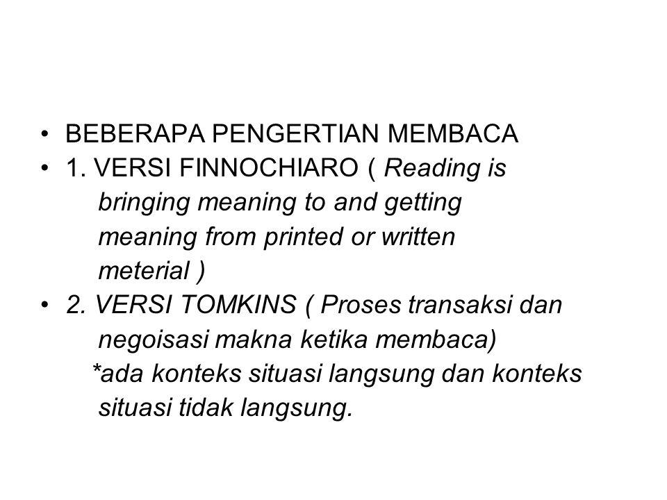 BEBERAPA PENGERTIAN MEMBACA 1. VERSI FINNOCHIARO ( Reading is bringing meaning to and getting meaning from printed or written meterial ) 2. VERSI TOMK