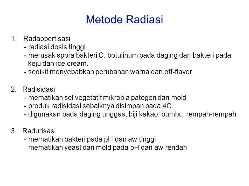 Metode Radiasi 1.Radappertisasi - radiasi dosis tinggi - merusak spora bakteri C. botulinum pada daging dan bakteri pada keju dan ice cream. - sedikit