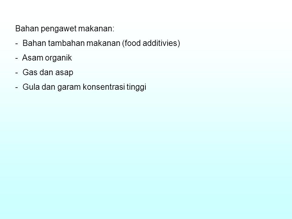 Bahan pengawet makanan: - Bahan tambahan makanan (food additivies) - Asam organik - Gas dan asap - Gula dan garam konsentrasi tinggi
