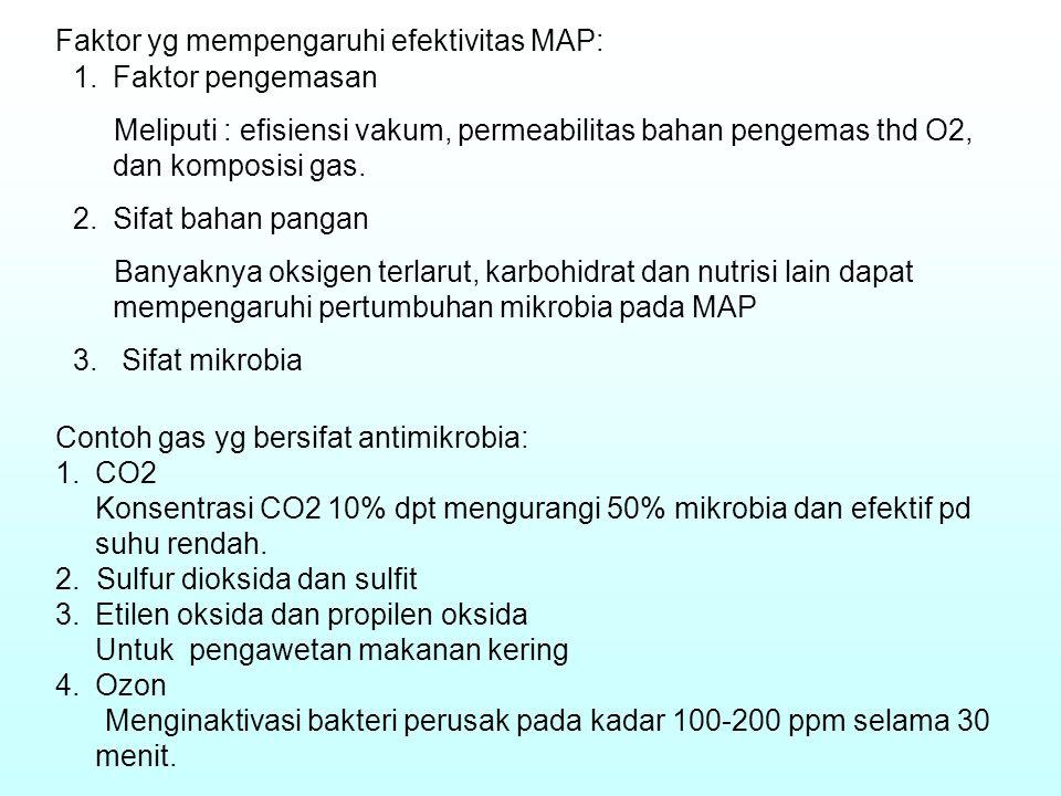 Faktor yg mempengaruhi efektivitas MAP: 1.Faktor pengemasan Meliputi : efisiensi vakum, permeabilitas bahan pengemas thd O2, dan komposisi gas. 2.Sifa