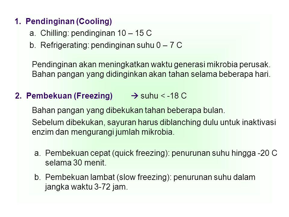 1. Pendinginan (Cooling) a.Chilling: pendinginan 10 – 15 C b.Refrigerating: pendinginan suhu 0 – 7 C Pendinginan akan meningkatkan waktu generasi mikr