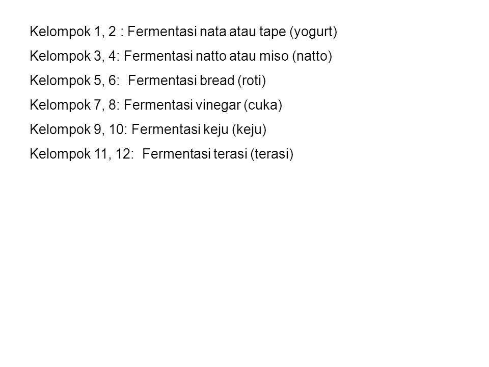 Kelompok 1, 2 : Fermentasi nata atau tape (yogurt) Kelompok 3, 4: Fermentasi natto atau miso (natto) Kelompok 5, 6: Fermentasi bread (roti) Kelompok 7, 8: Fermentasi vinegar (cuka) Kelompok 9, 10: Fermentasi keju (keju) Kelompok 11, 12: Fermentasi terasi (terasi)