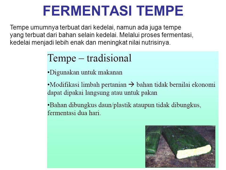 FERMENTASI TEMPE Tempe umumnya terbuat dari kedelai, namun ada juga tempe yang terbuat dari bahan selain kedelai.
