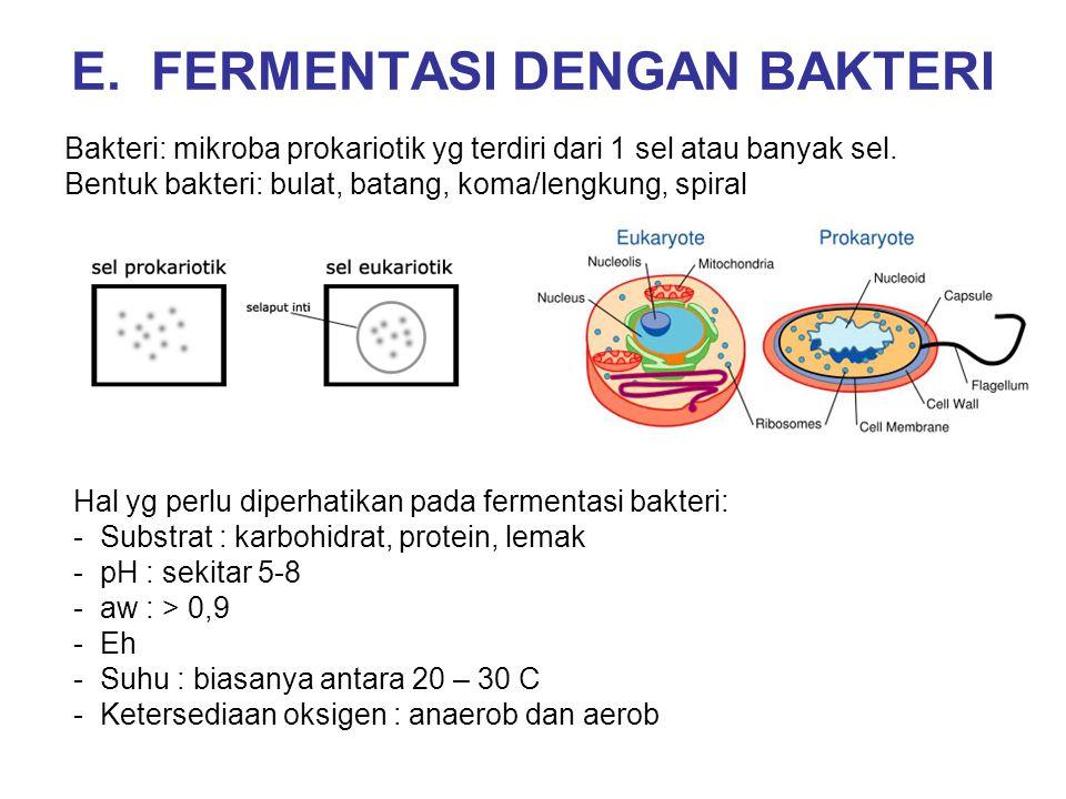 E. FERMENTASI DENGAN BAKTERI Bakteri: mikroba prokariotik yg terdiri dari 1 sel atau banyak sel. Bentuk bakteri: bulat, batang, koma/lengkung, spiral