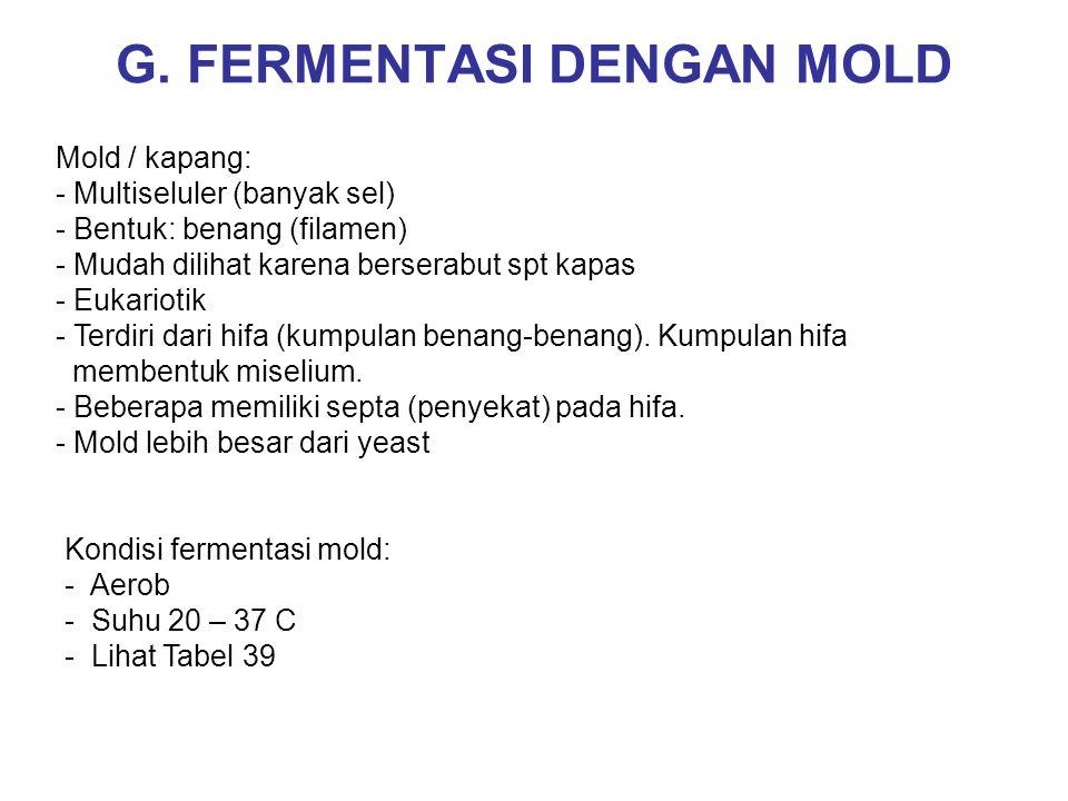 G. FERMENTASI DENGAN MOLD Mold / kapang: - Multiseluler (banyak sel) - Bentuk: benang (filamen) - Mudah dilihat karena berserabut spt kapas - Eukariot