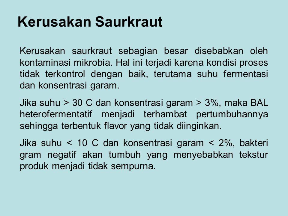 Kerusakan Saurkraut Kerusakan saurkraut sebagian besar disebabkan oleh kontaminasi mikrobia. Hal ini terjadi karena kondisi proses tidak terkontrol de