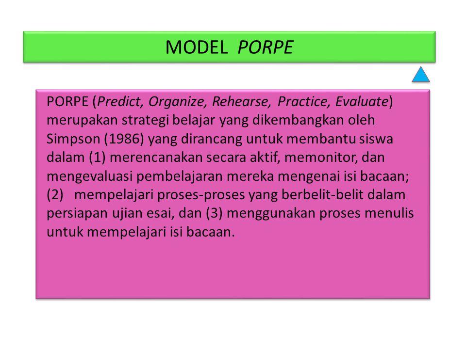MODEL PORPE PORPE (Predict, Organize, Rehearse, Practice, Evaluate) merupakan strategi belajar yang dikembangkan oleh Simpson (1986) yang dirancang un