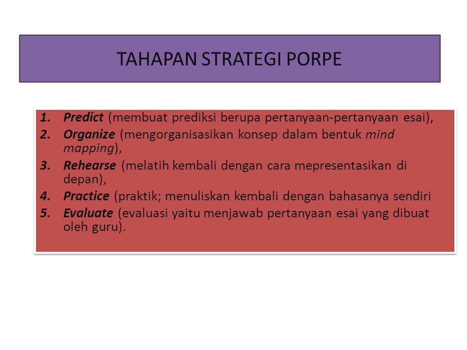 TAHAPAN STRATEGI PORPE 1.Predict (membuat prediksi berupa pertanyaan-pertanyaan esai), 2.Organize (mengorganisasikan konsep dalam bentuk mind mapping)