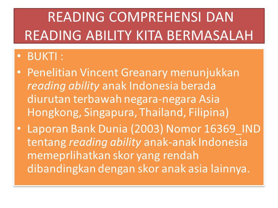 READING COMPREHENSI DAN READING ABILITY KITA BERMASALAH BUKTI : Penelitian Vincent Greanary menunjukkan reading ability anak Indonesia berada diurutan
