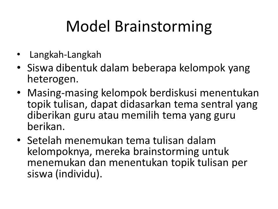 Model Brainstorming Langkah-Langkah Siswa dibentuk dalam beberapa kelompok yang heterogen. Masing-masing kelompok berdiskusi menentukan topik tulisan,