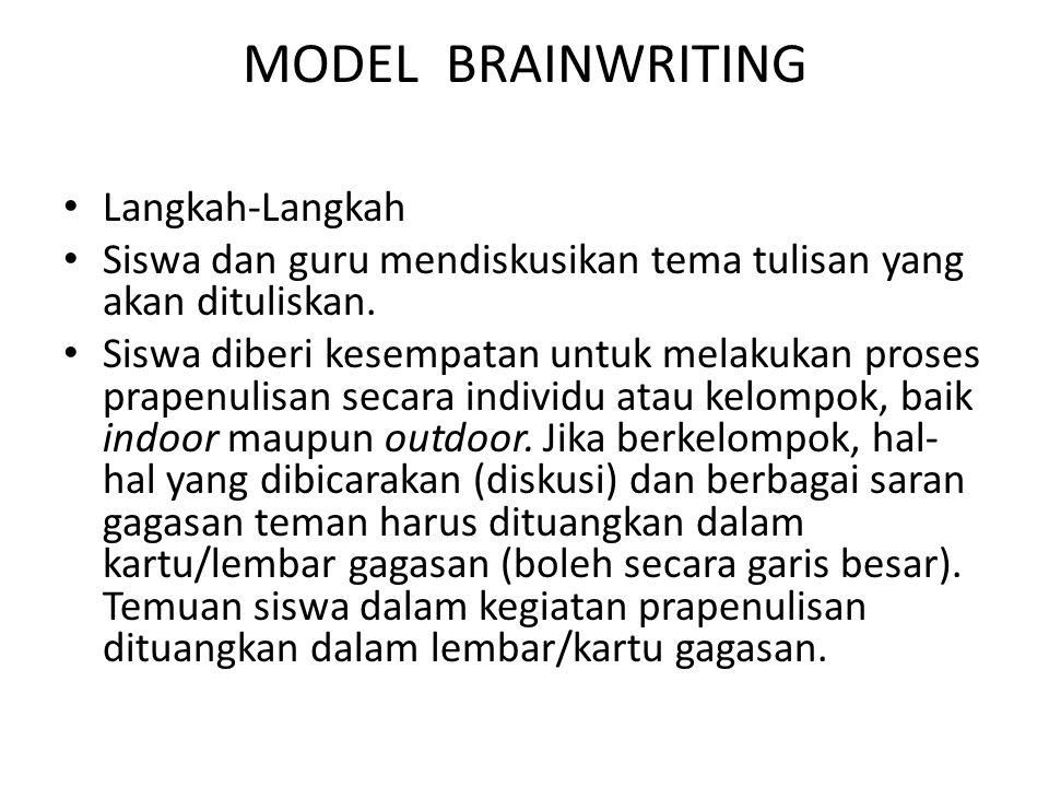 MODEL BRAINWRITING Langkah-Langkah Siswa dan guru mendiskusikan tema tulisan yang akan dituliskan. Siswa diberi kesempatan untuk melakukan proses prap
