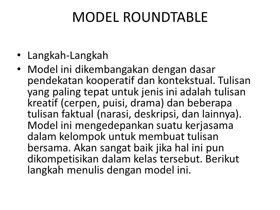 MODEL ROUNDTABLE Langkah-Langkah Model ini dikembangakan dengan dasar pendekatan kooperatif dan kontekstual. Tulisan yang paling tepat untuk jenis ini
