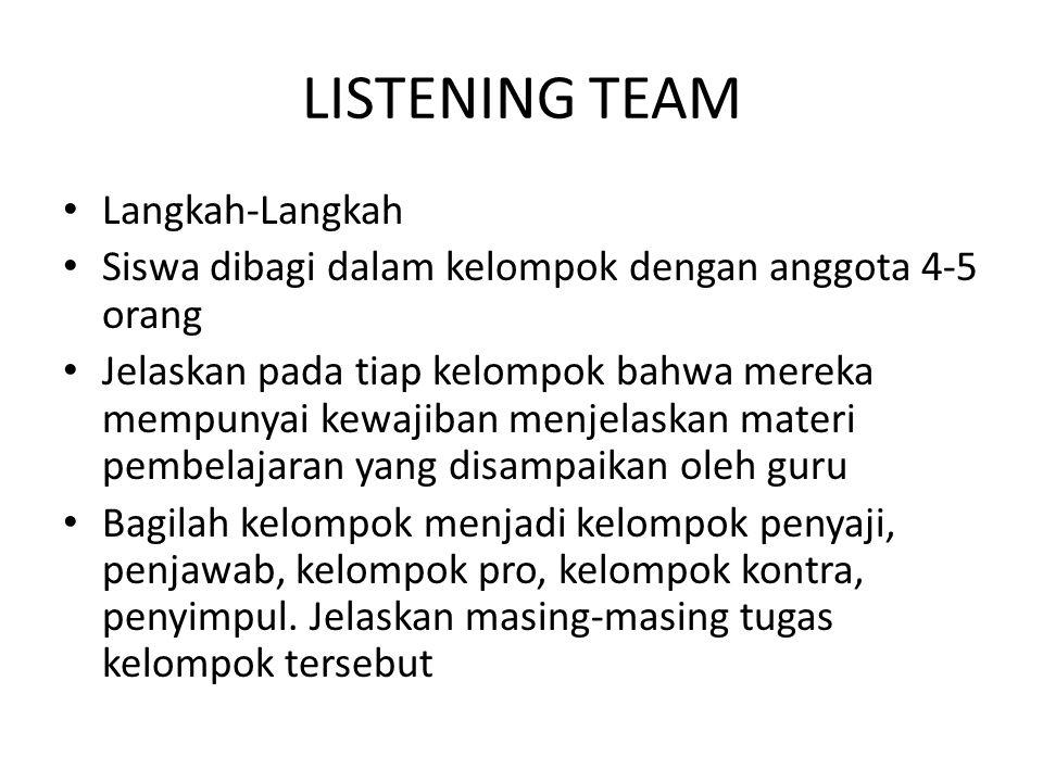 LISTENING TEAM Langkah-Langkah Siswa dibagi dalam kelompok dengan anggota 4-5 orang Jelaskan pada tiap kelompok bahwa mereka mempunyai kewajiban menje