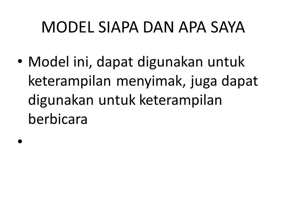 MODEL SIAPA DAN APA SAYA Model ini, dapat digunakan untuk keterampilan menyimak, juga dapat digunakan untuk keterampilan berbicara