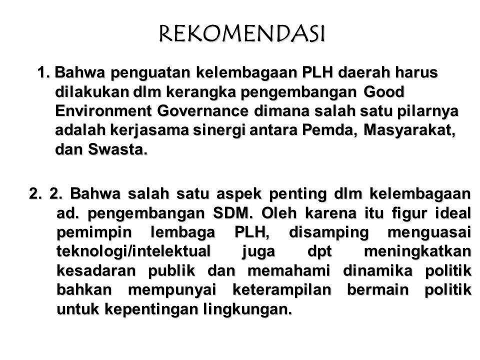 Oleh karena itu, kelembagaan PLH daerah perlu mereformasi diri, menyangkut : Strategi Penguatan Kelembagaan PLH 1.