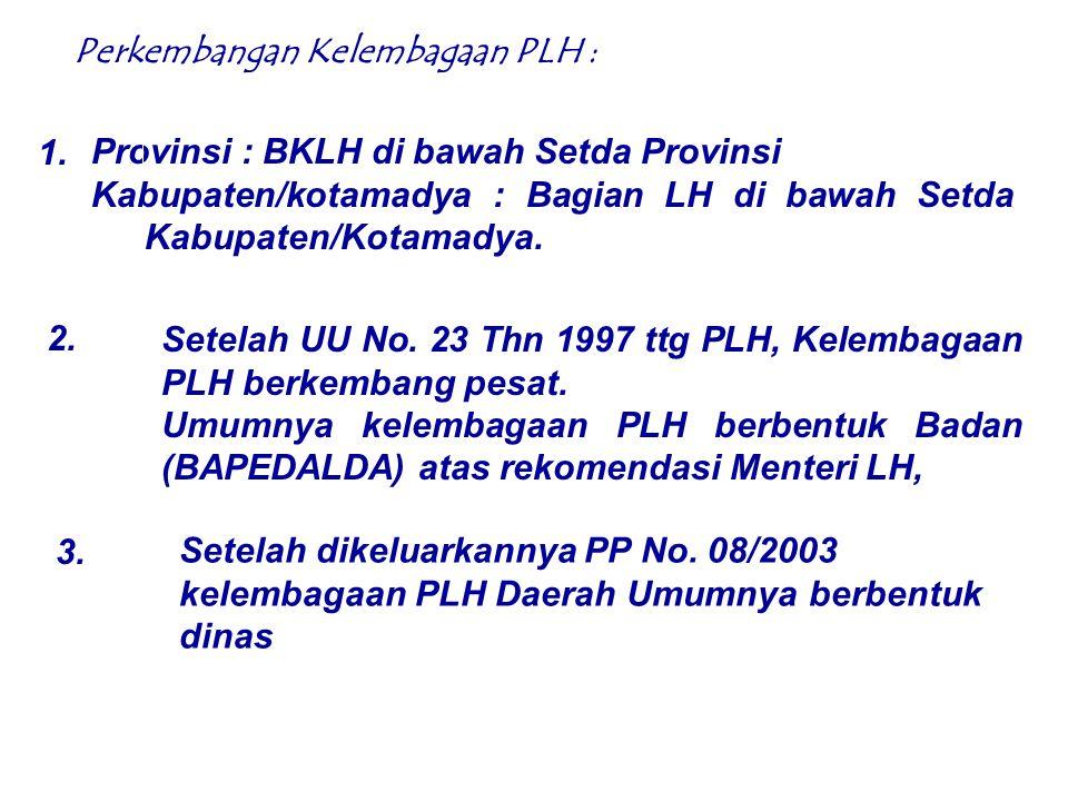 Karena PLH merupakan kewenangan wajib bagi daerah (Kabupaten/Kota) dan juga merupakan tugas dekosentrasi maka lembaga PLH daerah yg sesuai adalah berbentuk Dinas Daerah Pendahuluan