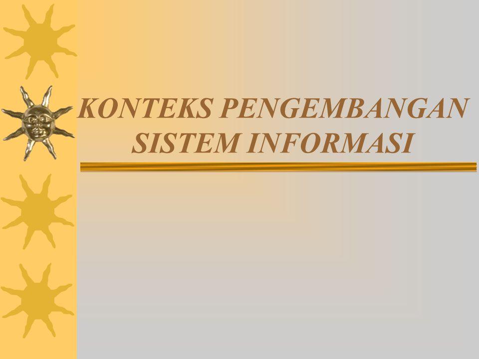 Overview proses pengembangan SI: Output/Deliverables Proses Pengembangan SI sederhana Output/deliverables Inisiasi/Perencanaan sistem  Rumusan masalah bisnis  Rencana proyek: ruang lingkup, tujuan, jadwal, anggaran Analisis sistem* Rumusan kebutuhan user * Harapan-harapan user * Prioritas solusi Desain Sistem* Rincian (spesifikasi) solusi Implementasi sistem* Solusi hardware dan software Perawatan & Pengembangan sistem * Sistem yang lebih baik