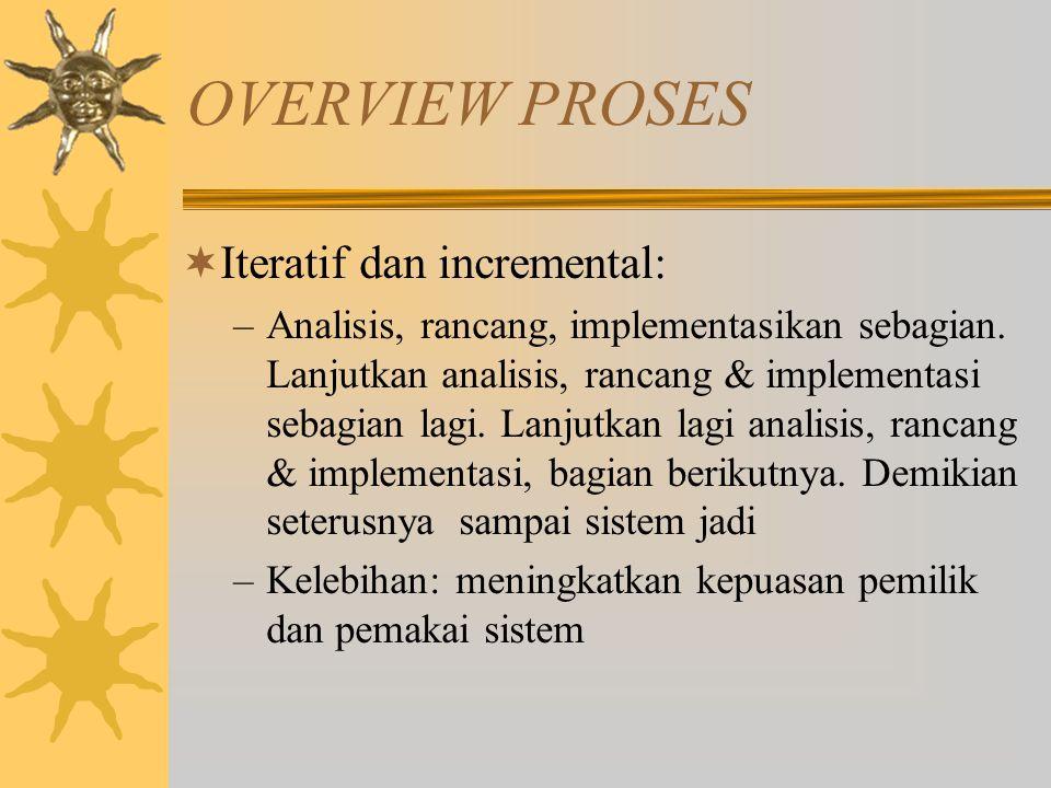 OVERVIEW PROSES  Iteratif dan incremental: –Analisis, rancang, implementasikan sebagian. Lanjutkan analisis, rancang & implementasi sebagian lagi. La