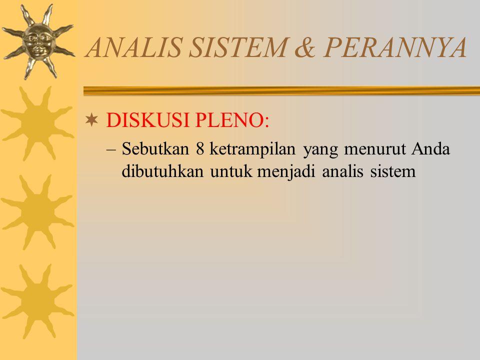  DISKUSI PLENO: –Sebutkan 8 ketrampilan yang menurut Anda dibutuhkan untuk menjadi analis sistem ANALIS SISTEM & PERANNYA