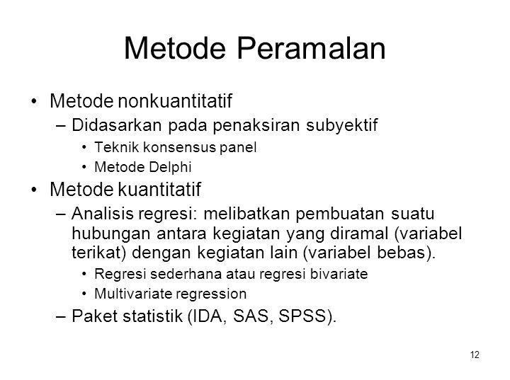 12 Metode Peramalan Metode nonkuantitatif –Didasarkan pada penaksiran subyektif Teknik konsensus panel Metode Delphi Metode kuantitatif –Analisis regr