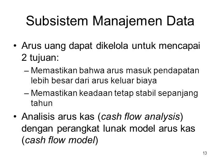 13 Subsistem Manajemen Data Arus uang dapat dikelola untuk mencapai 2 tujuan: –Memastikan bahwa arus masuk pendapatan lebih besar dari arus keluar bia