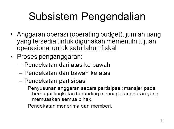 14 Subsistem Pengendalian Anggaran operasi (operating budget): jumlah uang yang tersedia untuk digunakan memenuhi tujuan operasional untuk satu tahun
