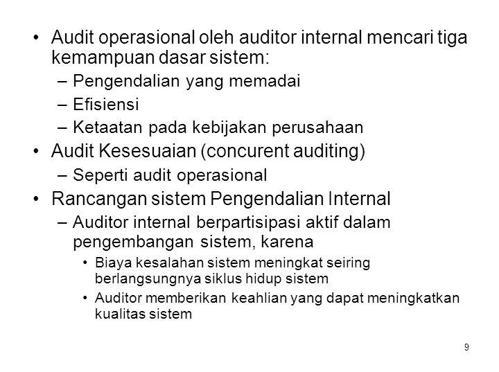 9 Audit operasional oleh auditor internal mencari tiga kemampuan dasar sistem: –Pengendalian yang memadai –Efisiensi –Ketaatan pada kebijakan perusaha