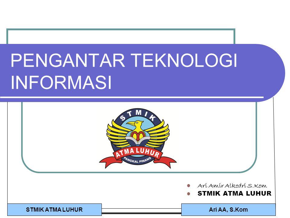 Ari AA, S.KomSTMIK ATMA LUHUR PENGANTAR TEKNOLOGI INFORMASI Ari Amir Alkodri S.Kom STMIK ATMA LUHUR