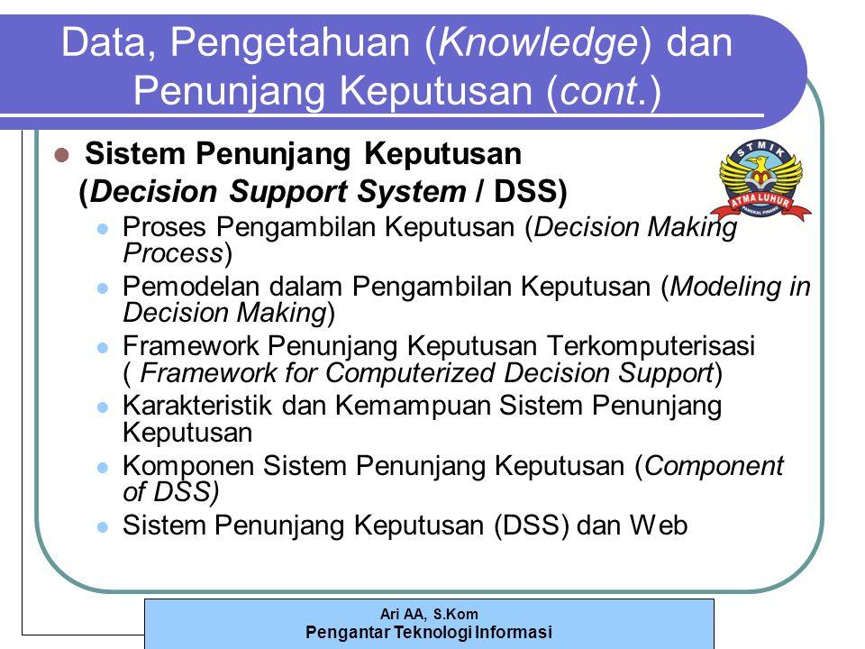 Ari AA, S.Kom Pengantar Teknologi Informasi Data, Pengetahuan (Knowledge)dan Penunjang Keputusan (cont.) Sistem Penunjang Keputusan (Decision Support System / DSS) Proses Pengambilan Keputusan (Decision Making Process) Pemodelan dalam Pengambilan Keputusan (Modeling in Decision Making) Framework Penunjang Keputusan Terkomputerisasi ( Framework for Computerized Decision Support) Karakteristik dan Kemampuan Sistem Penunjang Keputusan Komponen Sistem Penunjang Keputusan (Component of DSS) Sistem Penunjang Keputusan (DSS) dan Web