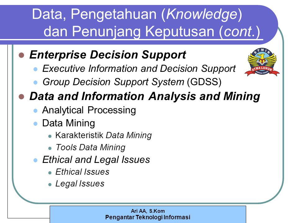 Ari AA, S.Kom Pengantar Teknologi Informasi Data, Pengetahuan (Knowledge) dan Penunjang Keputusan (cont.) Enterprise Decision Support Executive Inform