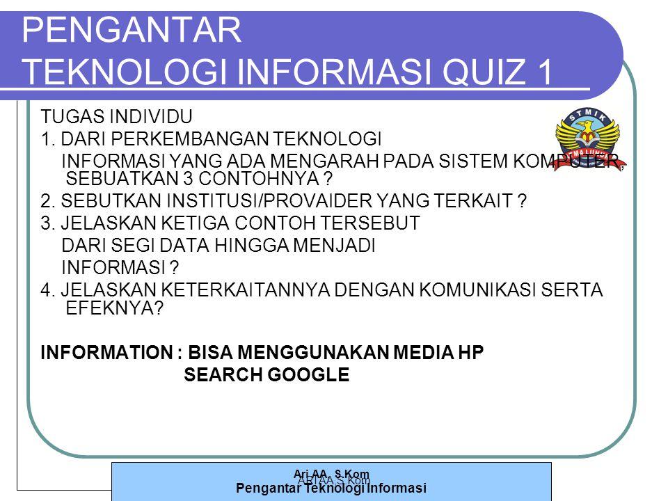 Ari AA, S.Kom Pengantar Teknologi Informasi ARI AA,S.Kom PENGANTAR TEKNOLOGI INFORMASI QUIZ 1 TUGAS INDIVIDU 1.