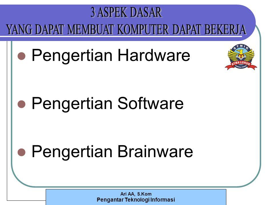 Ari AA, S.Kom Pengantar Teknologi Informasi Pengertian Hardware Pengertian Software Pengertian Brainware