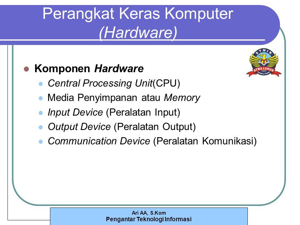 Ari AA, S.Kom Pengantar Teknologi Informasi Perangkat Keras Komputer (Hardware) Komponen Hardware Central Processing Unit(CPU) Media Penyimpanan atau Memory Input Device (Peralatan Input) Output Device (Peralatan Output) Communication Device (Peralatan Komunikasi)