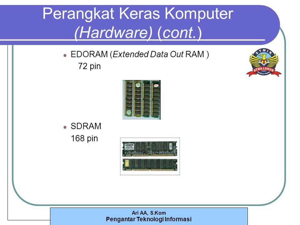 Ari AA, S.Kom Pengantar Teknologi Informasi Perangkat Keras Komputer (Hardware) (cont.) EDORAM (Extended Data Out RAM ) 72 pin SDRAM 168 pin