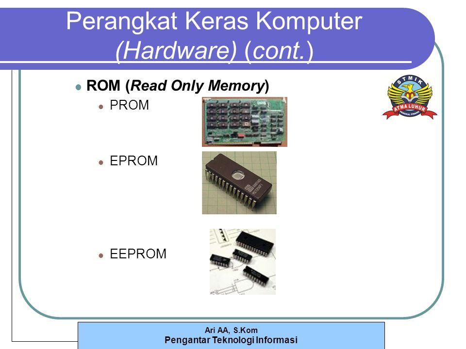 Ari AA, S.Kom Pengantar Teknologi Informasi Perangkat Keras Komputer (Hardware) (cont.) ROM (Read Only Memory) PROM EPROM EEPROM
