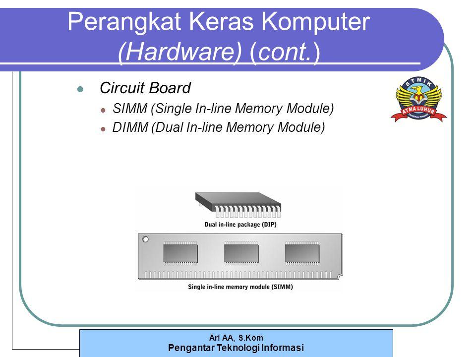 Ari AA, S.Kom Pengantar Teknologi Informasi Perangkat Keras Komputer (Hardware) (cont.) Circuit Board SIMM (Single In-line Memory Module) DIMM (Dual In-line Memory Module)