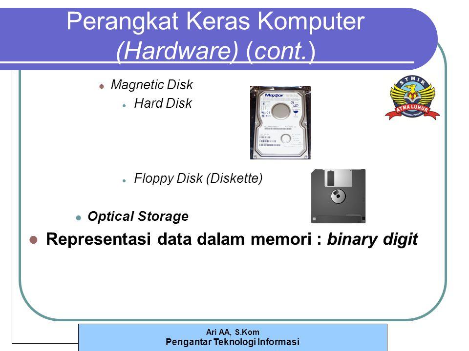 Ari AA, S.Kom Pengantar Teknologi Informasi Perangkat Keras Komputer (Hardware) (cont.) Magnetic Disk Hard Disk Floppy Disk (Diskette) Optical Storage Representasi data dalam memori : binary digit