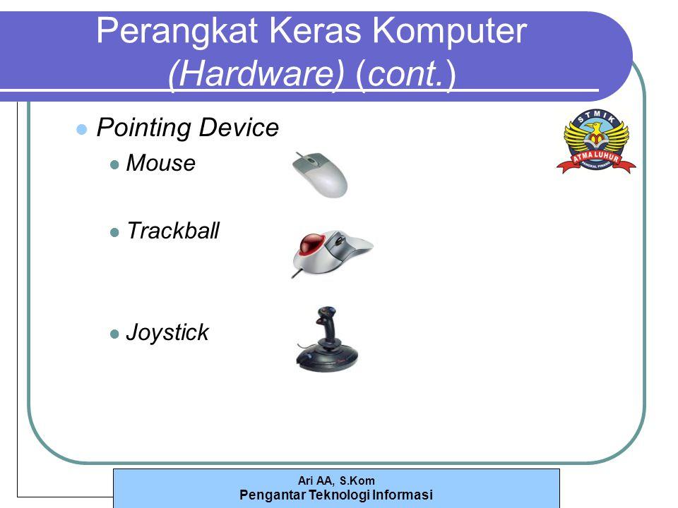 Ari AA, S.Kom Pengantar Teknologi Informasi Perangkat Keras Komputer (Hardware) (cont.) Pointing Device Mouse Trackball Joystick