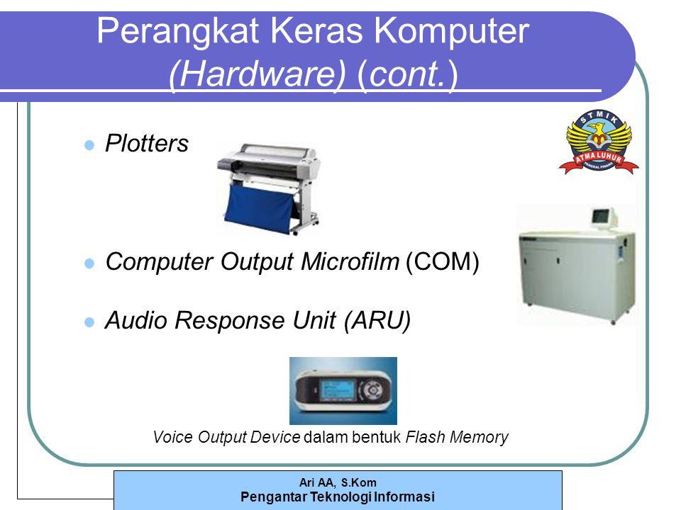 Ari AA, S.Kom Pengantar Teknologi Informasi Perangkat Keras Komputer (Hardware) (cont.) Plotters Computer Output Microfilm (COM) Audio Response Unit (ARU) Voice Output Device dalam bentuk Flash Memory