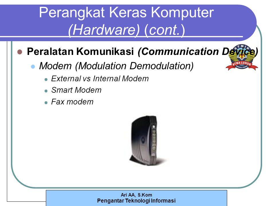 Ari AA, S.Kom Pengantar Teknologi Informasi Perangkat Keras Komputer (Hardware) (cont.) Peralatan Komunikasi (Communication Device) Modem (Modulation Demodulation) External vs Internal Modem Smart Modem Fax modem