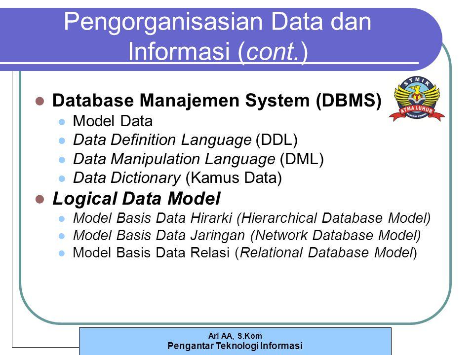 Ari AA, S.Kom Pengantar Teknologi Informasi Pengorganisasian Data dan Informasi (cont.) Database Manajemen System (DBMS) Model Data Data Definition Language (DDL) Data Manipulation Language (DML) Data Dictionary (Kamus Data) Logical Data Model Model Basis Data Hirarki (Hierarchical Database Model) Model Basis Data Jaringan (Network Database Model) Model Basis Data Relasi (Relational Database Model)