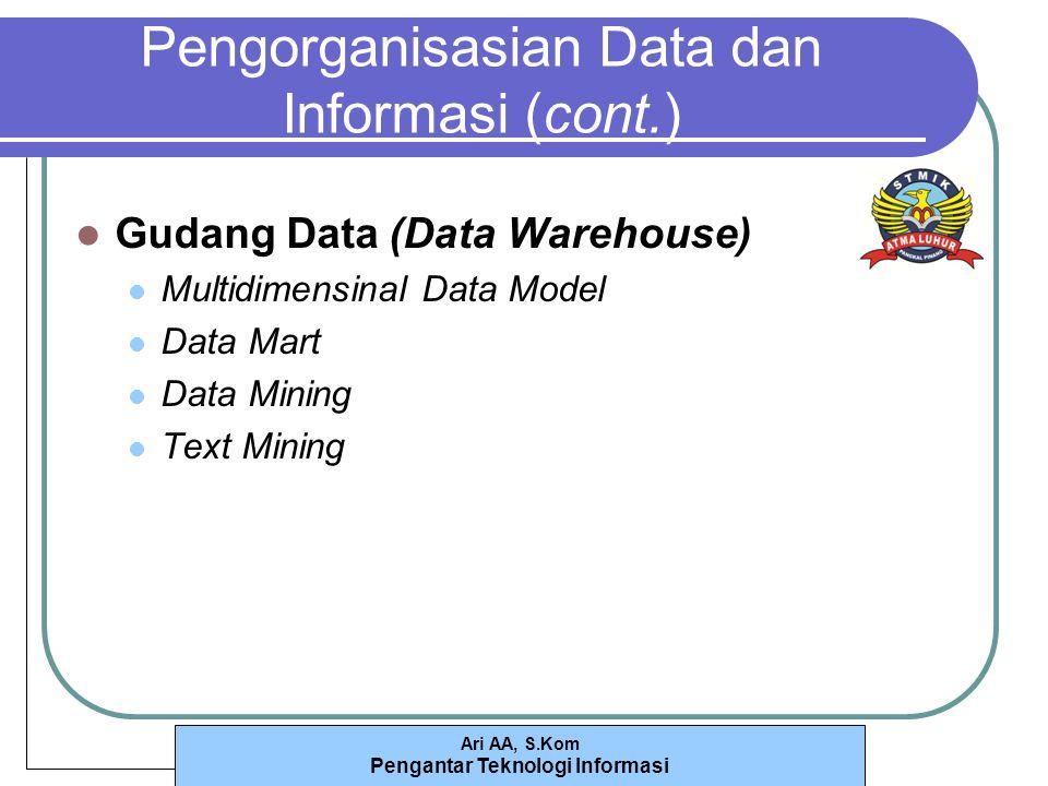 Ari AA, S.Kom Pengantar Teknologi Informasi Pengorganisasian Data dan Informasi (cont.) Gudang Data (Data Warehouse) Multidimensinal Data Model Data Mart Data Mining Text Mining