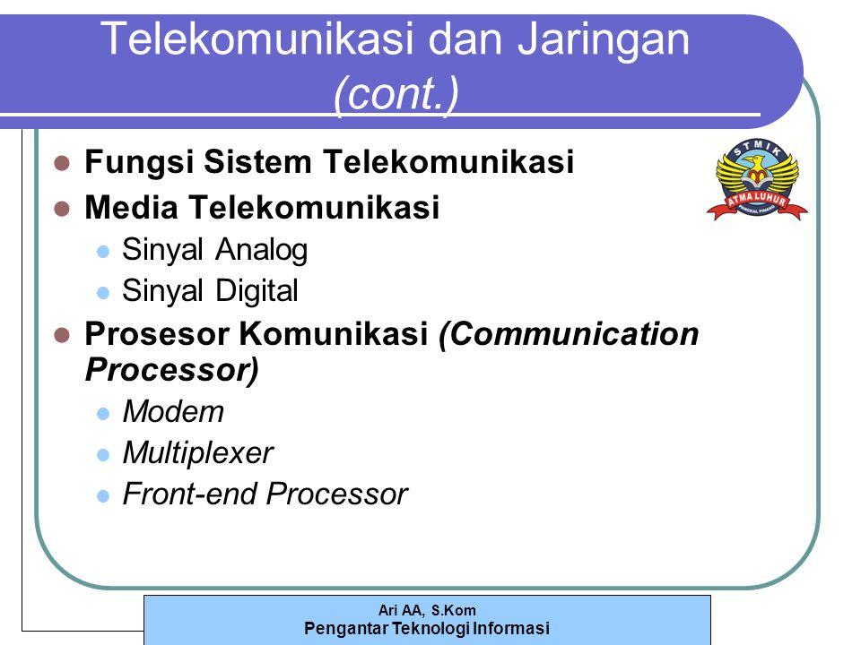 Ari AA, S.Kom Pengantar Teknologi Informasi Telekomunikasi dan Jaringan (cont.) Fungsi Sistem Telekomunikasi Media Telekomunikasi Sinyal Analog Sinyal Digital Prosesor Komunikasi (Communication Processor) Modem Multiplexer Front-end Processor