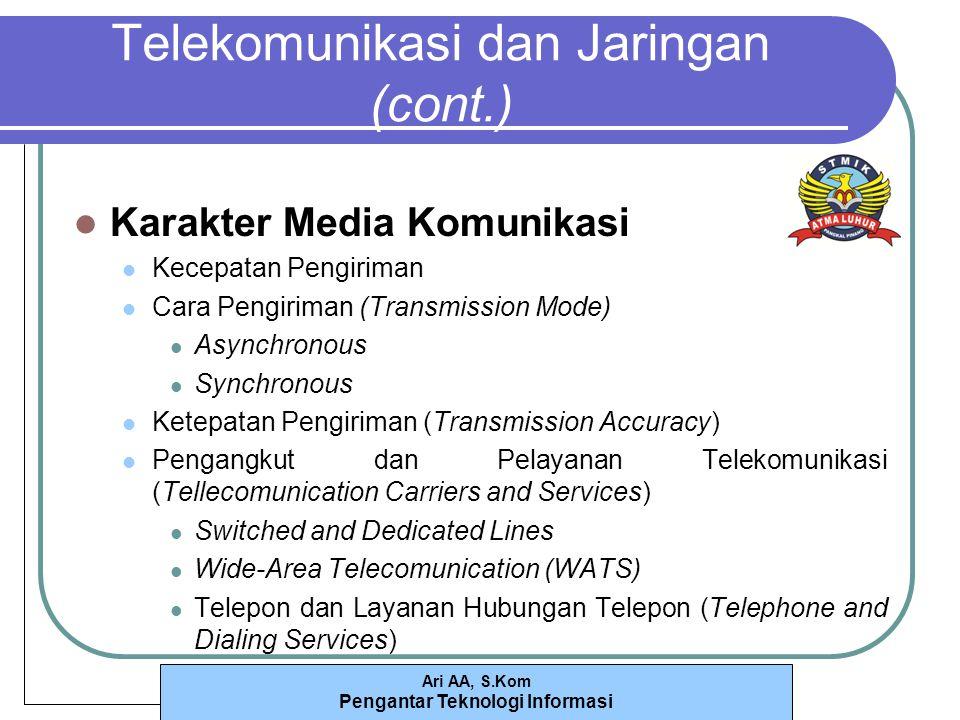 Ari AA, S.Kom Pengantar Teknologi Informasi Telekomunikasi dan Jaringan (cont.) Karakter Media Komunikasi Kecepatan Pengiriman Cara Pengiriman (Transmission Mode) Asynchronous Synchronous Ketepatan Pengiriman (Transmission Accuracy) Pengangkut dan Pelayanan Telekomunikasi (Tellecomunication Carriers and Services) Switched and Dedicated Lines Wide-Area Telecomunication (WATS) Telepon dan Layanan Hubungan Telepon (Telephone and Dialing Services)
