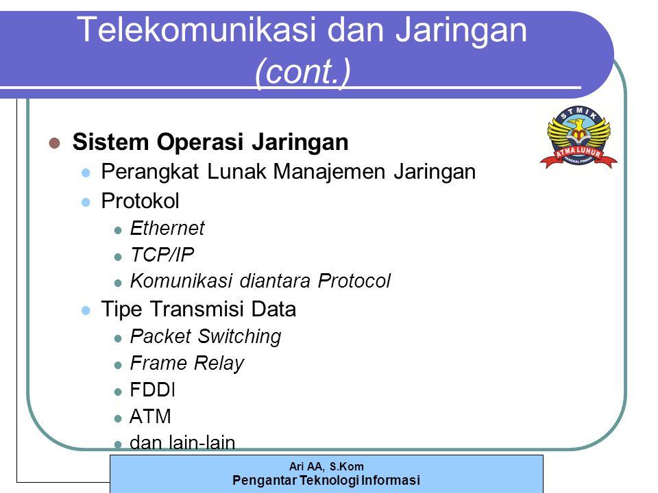 Ari AA, S.Kom Pengantar Teknologi Informasi Telekomunikasi dan Jaringan (cont.) Sistem Operasi Jaringan Perangkat Lunak Manajemen Jaringan Protokol Ethernet TCP/IP Komunikasi diantara Protocol Tipe Transmisi Data Packet Switching Frame Relay FDDI ATM dan lain-lain